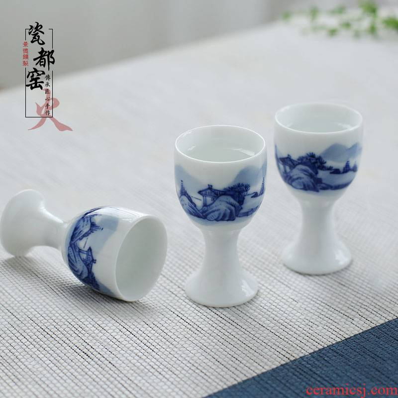 Jingdezhen hand - made of ceramic a single glass of household white yellow wine glass archaize wind small blue and white porcelain is a small handleless wine cup custom