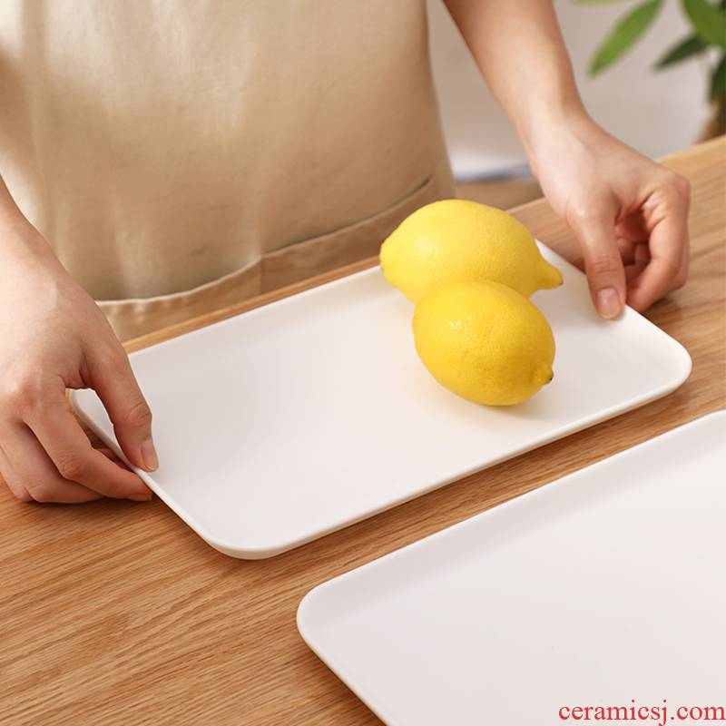 Tray was rectangular plastic household contracted home receive water glass cup tea Tray of fruit dessert plate plate