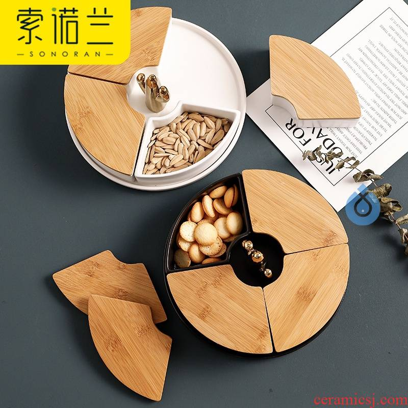 Dried fruit fruit bowl points ins ceramic sitting room four frames with cover of snack plate of melon seeds, candy dishes