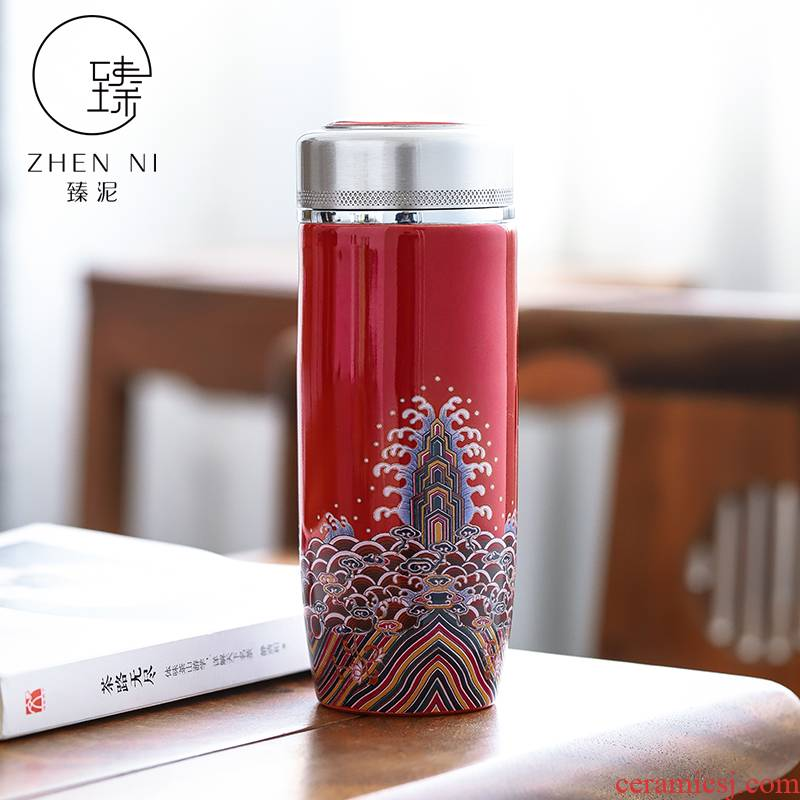 By clay ceramic vacuum cup home colored enamel and stainless steel tank portable car with a cup of tea cup