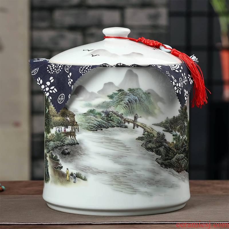 Jingdezhen caddy fixings tea cake ceramic seal pot store receives large pot of pu 'er tea bread seven receive a case