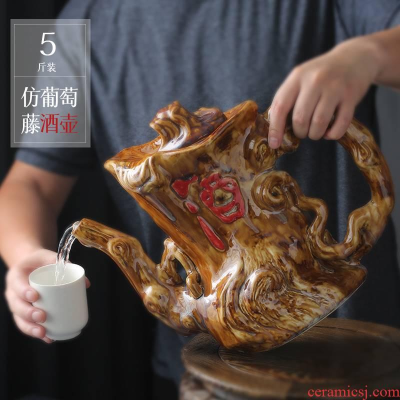 Jingdezhen ceramic household hip wine wine wine archaize 5 jins put mercifully wine jar small bottle decoration ideas