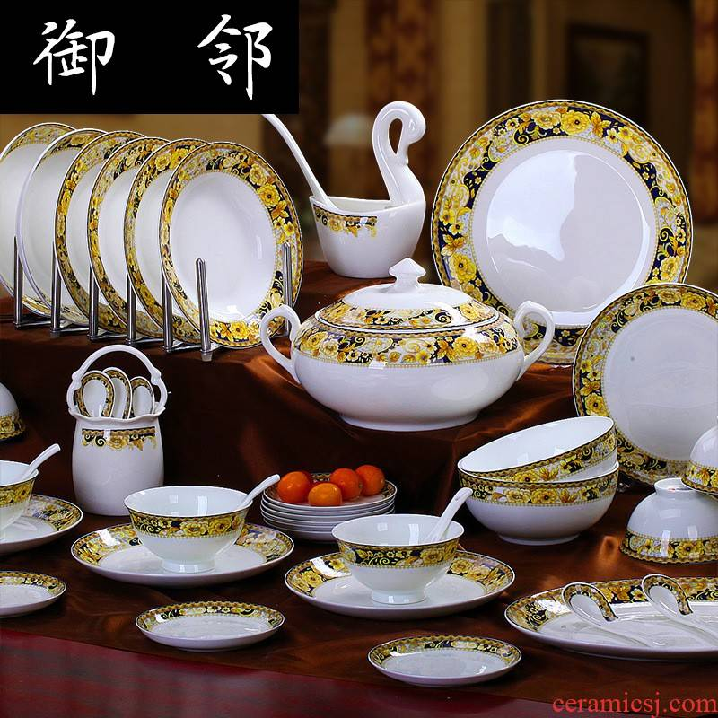 Propagated jingdezhen glair ipads porcelain tableware kit ceramics dishes set bowl of 58 head wealth of gold, adversity of strong man