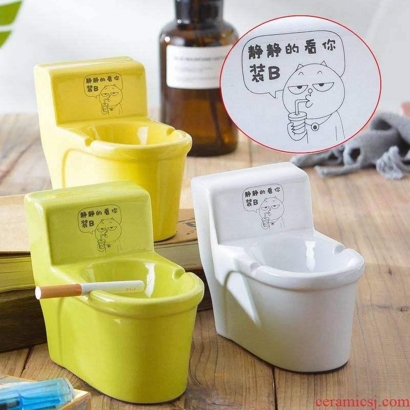 Rhinoceros, ceramic ashtray small sitting room creative move trend mini sanitary toilet gift male spoof to send
