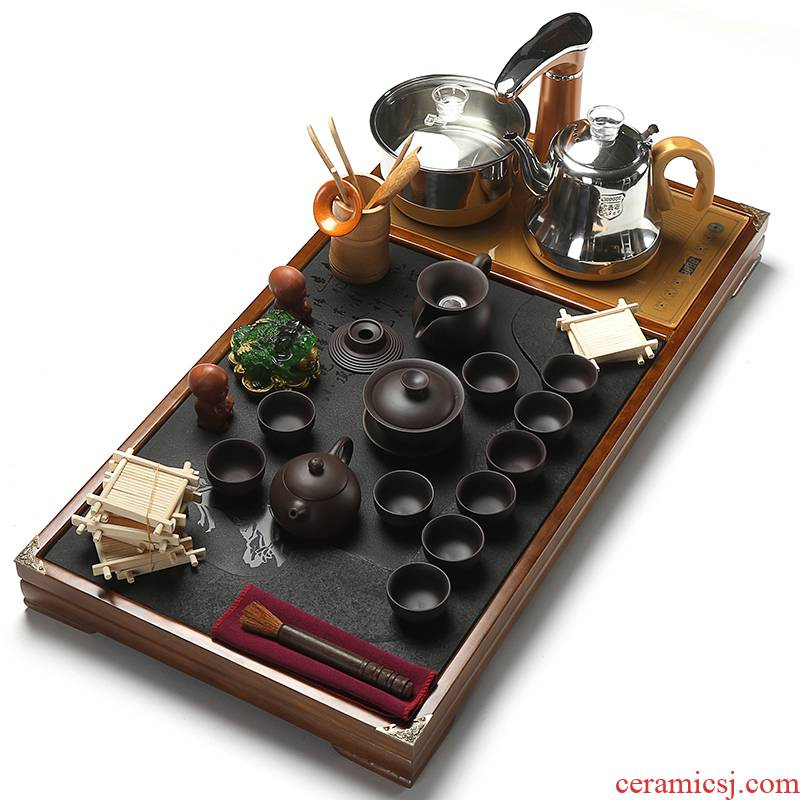 True to a complete set of tea set tea home sharply stone tea tray was solid wood blocks automatic induction cooker together