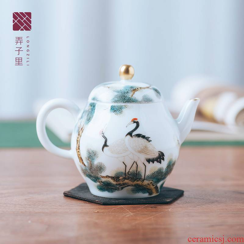 Made in jingdezhen all hand teapot tea tea set hand - Made pine crane live gold new pot teapot tea set
