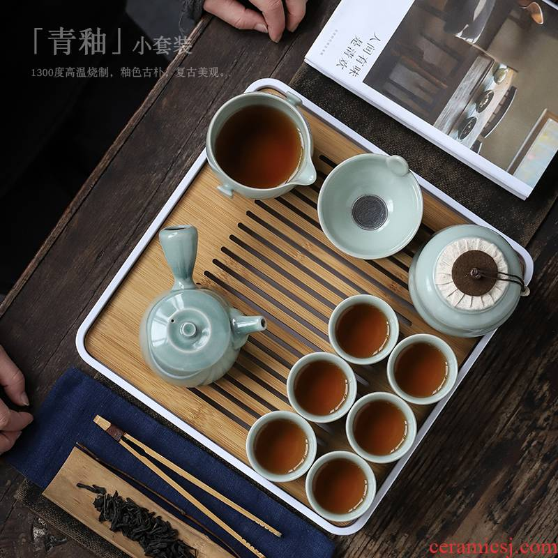 ShangYan kung fu tea set suit household teapot teacup of a complete set of tea tray was contracted small tea set of modern office