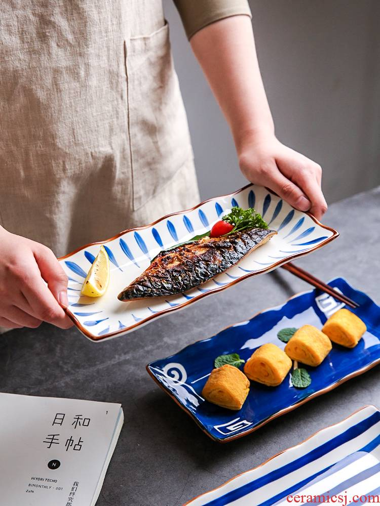 Sichuan in Japanese sushi feng dish rectangular household creative ceramic plate dish all the fish dish