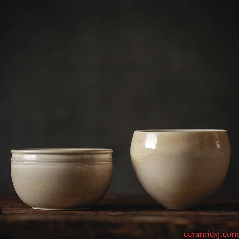 Xu ink wash plant ash glaze kung fu tea built water up antique tea cups XiCha jar household ceramics by hand