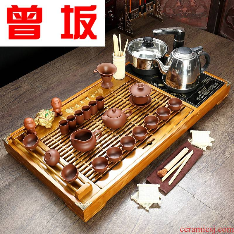 The Was sitting manufacturer to spot a full set of tea sets tea tray kembat solid wood four unity kung fu tea set free