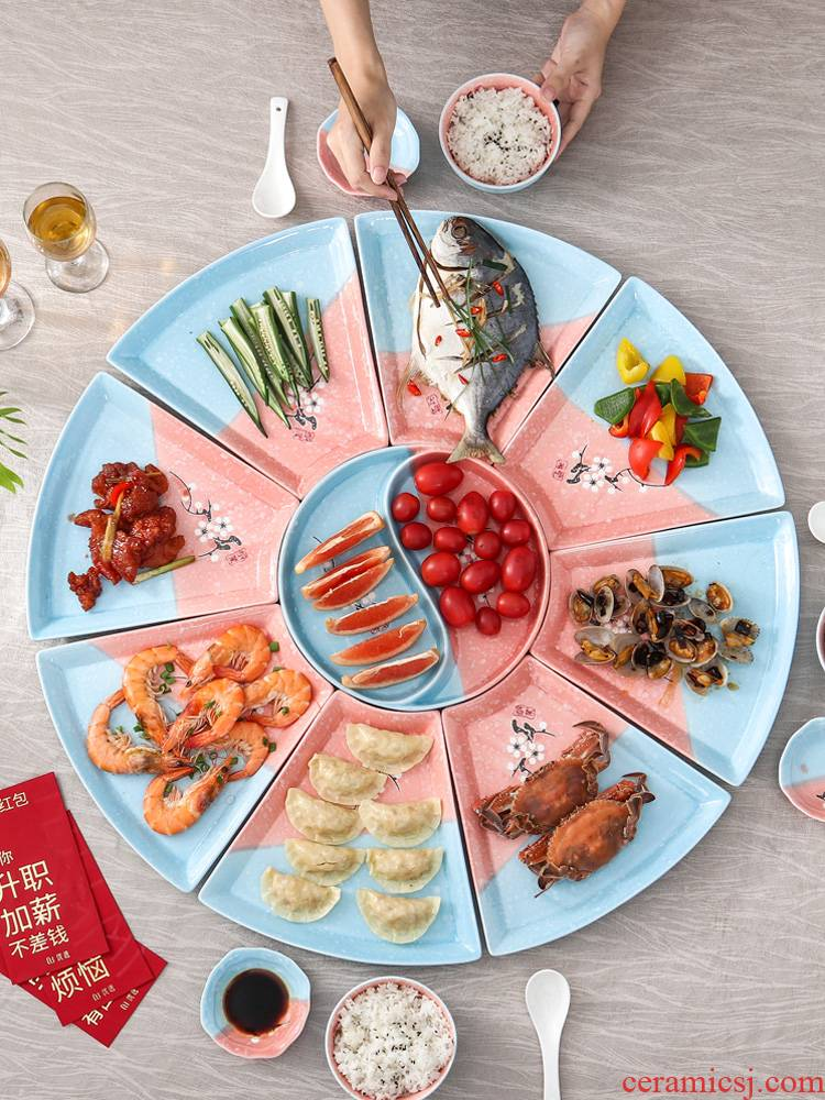 Creative dishes suit household contracted food reunion festival party hotpot ceramic platter plate combination