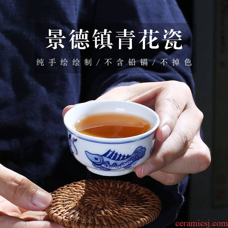 Jingdezhen up the fire which is hand made blue and white porcelain tea set sample tea cup of household ceramics kunfu tea cups only