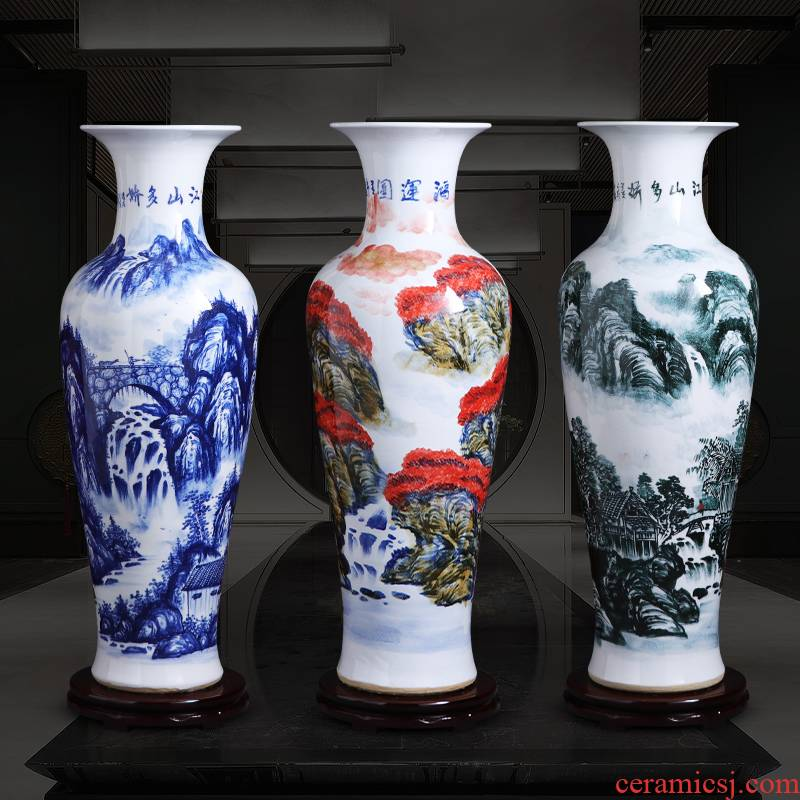 Jingdezhen ceramic vase large furnishing articles 1 meter landing hand - made porcelain of modern Chinese style home sitting room adornment