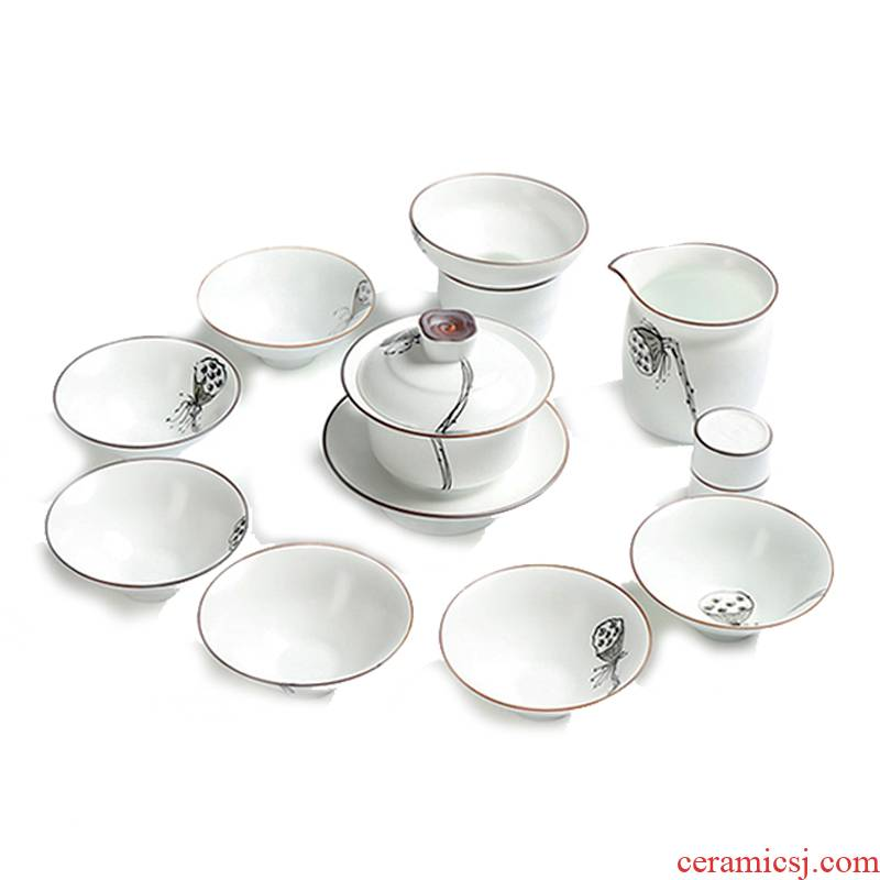 True sheng exquisite hand - made kung fu tea set up a set of inferior smooth white fat thin foetus tureen of a complete set of tea cups