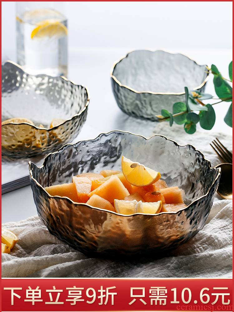 Fruit bowl sitting room tea table household crystal glass salad bowl Nordic style of creative move of modern Fruit bowl