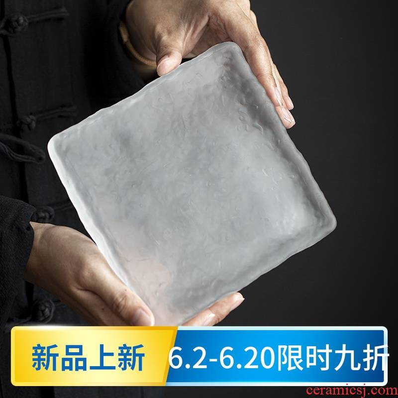 Old Japanese glass pot bearing pot pad at the grid manually restoring ancient ways is frosted glass dry terms plate tea accessories tray mat
