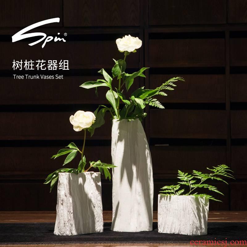 Spin stump white flower implement group creative ceramic sitting room place jingdezhen porcelain flower arrangement of large vase