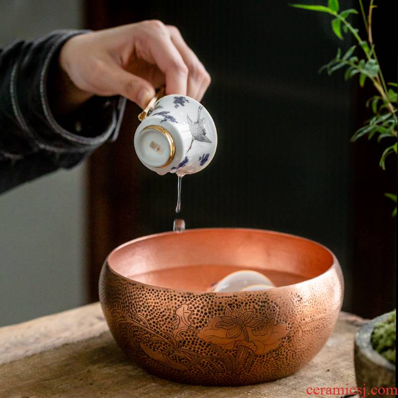 Copper tea wash water hammer built large manually restoring ancient ways in hot water wash bowl meng home barrels of kung fu tea taking with zero