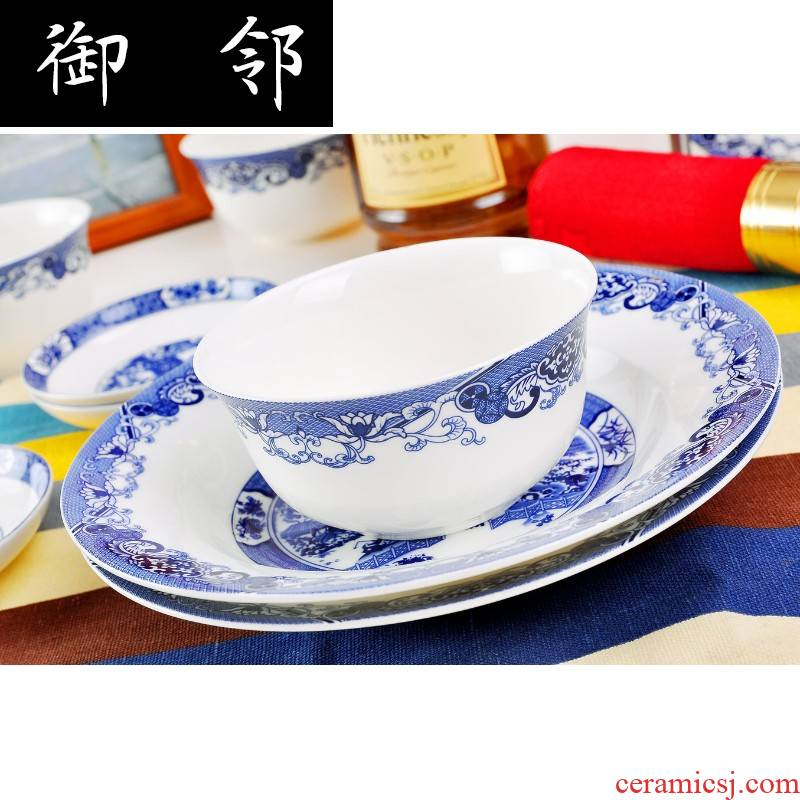 Alb56 skull porcelain tableware suit garden landscape Chinese ceramics dishes and plates