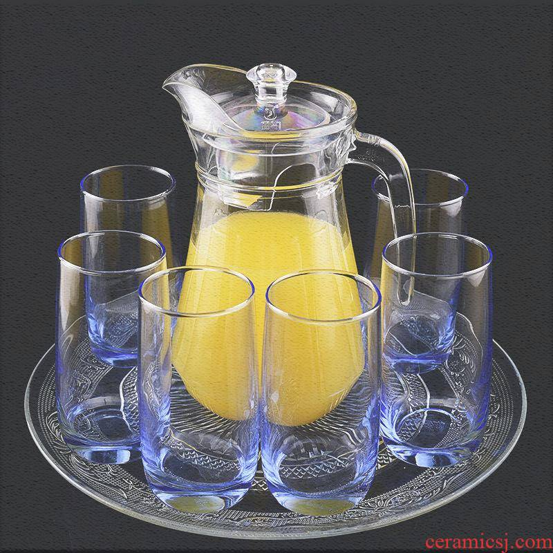 Transparent glass cup cold water suit milk cup of fruit juice cup heat - resistant glass tea cup creative home