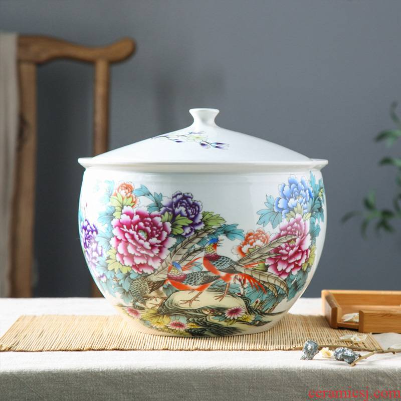 Jingdezhen ceramic barrel with cover household ricer box insect - resistant seal storage tank cylinder 5 jins of 10 jins 20 jins