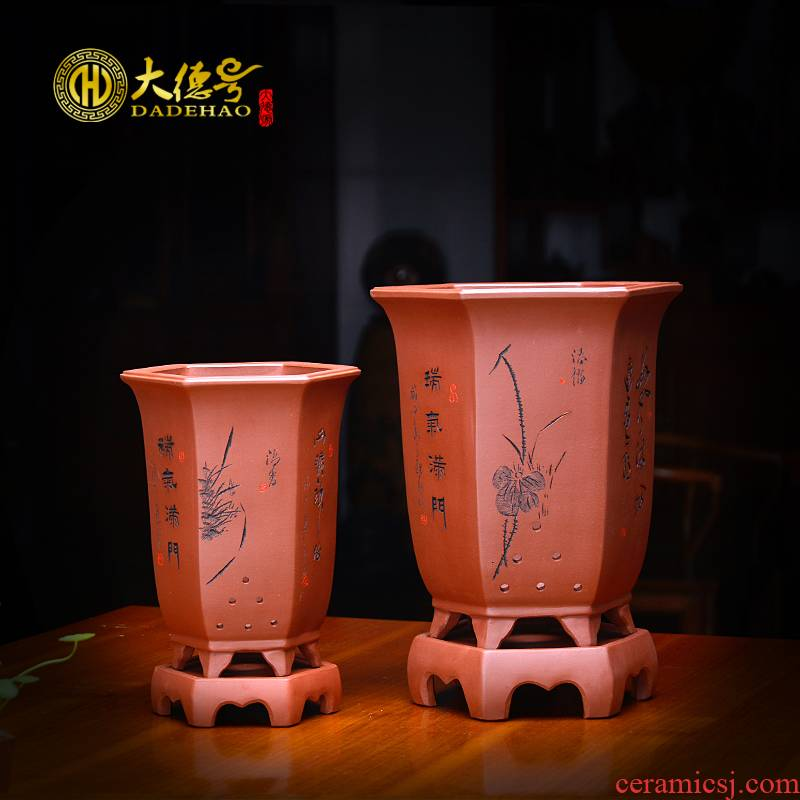 Yixing purple sand flowerpot of China wind indoor hexagonal basin high - end violet arenaceous breathable orchid orchid orchid basin is special