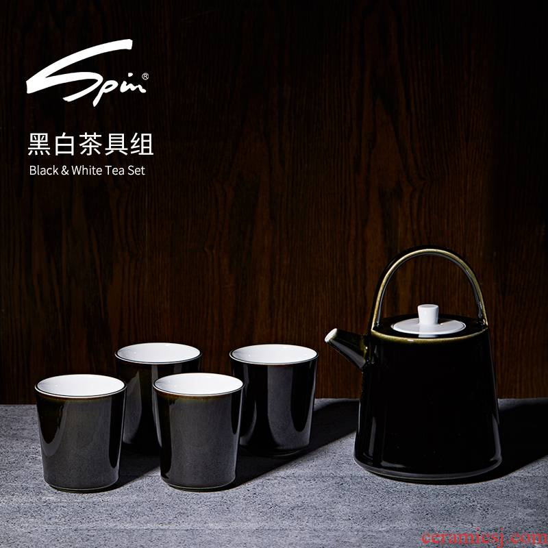 Spin and white tea sets jingdezhen kung fu tea cups domestic Japanese tea set a pot of four cups