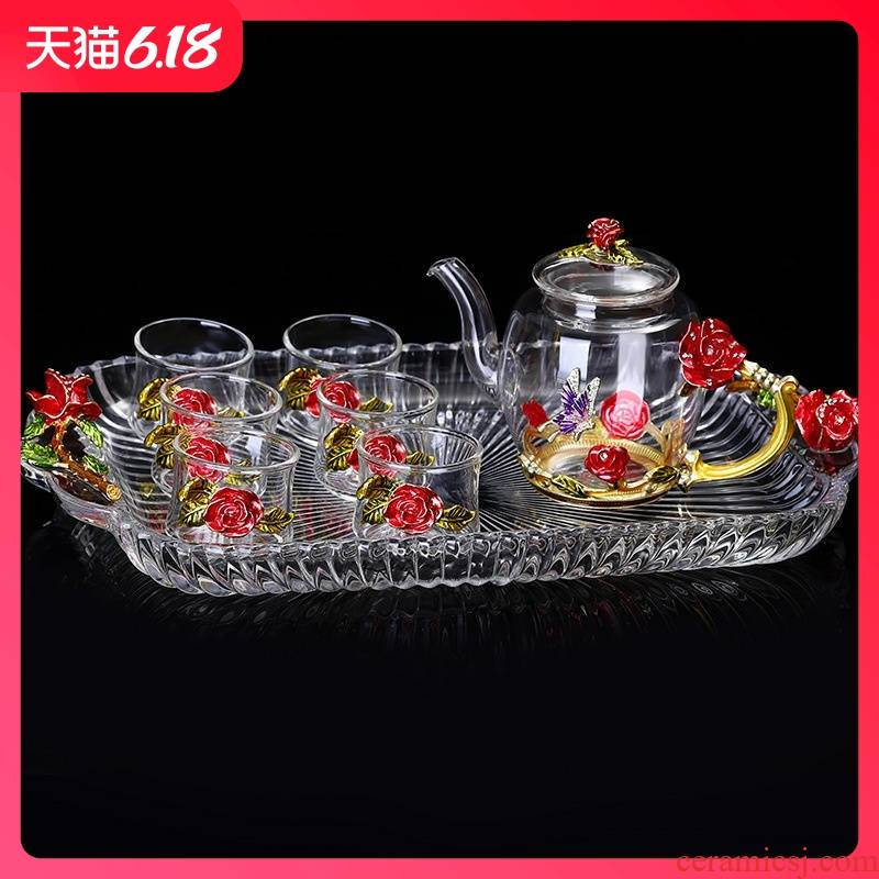 Hold to guest comfortable creative colored enamel hand - made sample tea cup kongfu tea cup of heat - resistant lead - free master cup small cups of tea