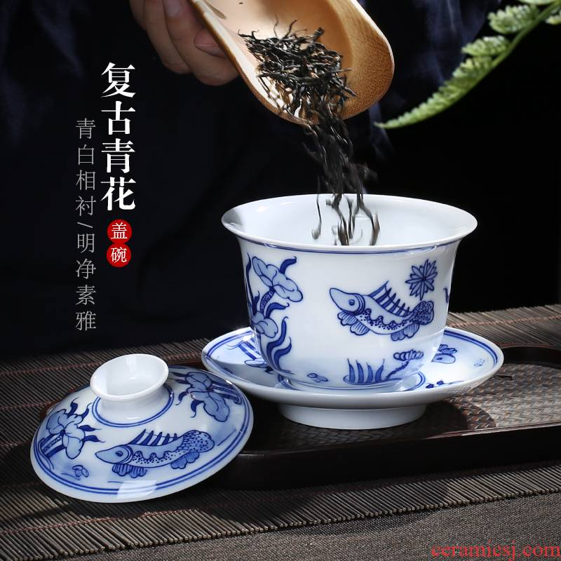 Jingdezhen up the fire which hand to restore ancient ways make tea tureen three only a single large ceramic cups of blue and white porcelain bowl