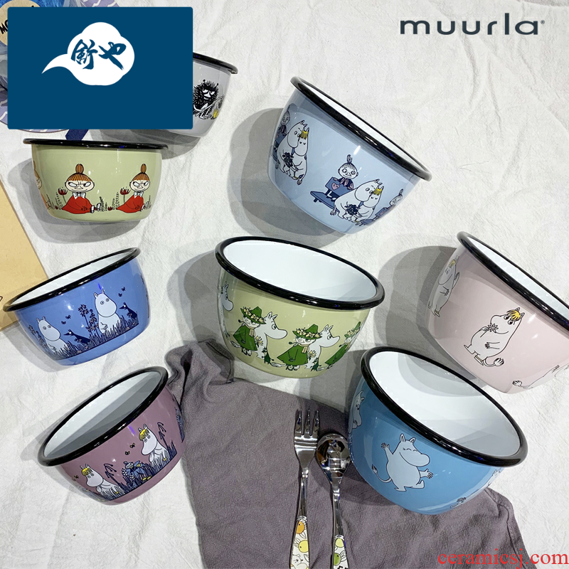 Shu northern Finland also imports enamel enamel bowls moomin moomin individual dishes soup bowl bowl female children
