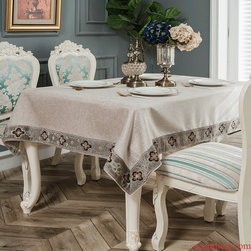 Pure color tablecloth European - style emperor rectangle values table cloth cotton and linen small and Pure and fresh Nordic contracted white tablecloth Macao tea table