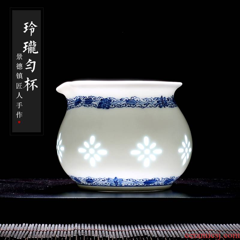 Blue and white and exquisite porcelain jingdezhen up the fire which hand - made ceramic tea set points fair keller of tea ware device and a cup of tea