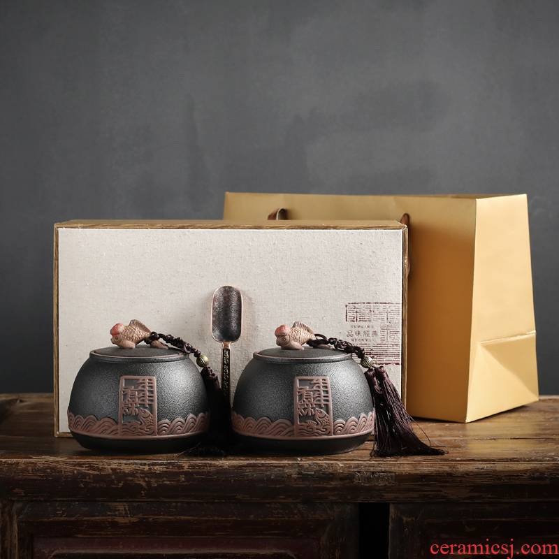 A new tea packaging gift box aneroid common black tea, green tea in the tea pot of ceramic seal pot double pot of custom
