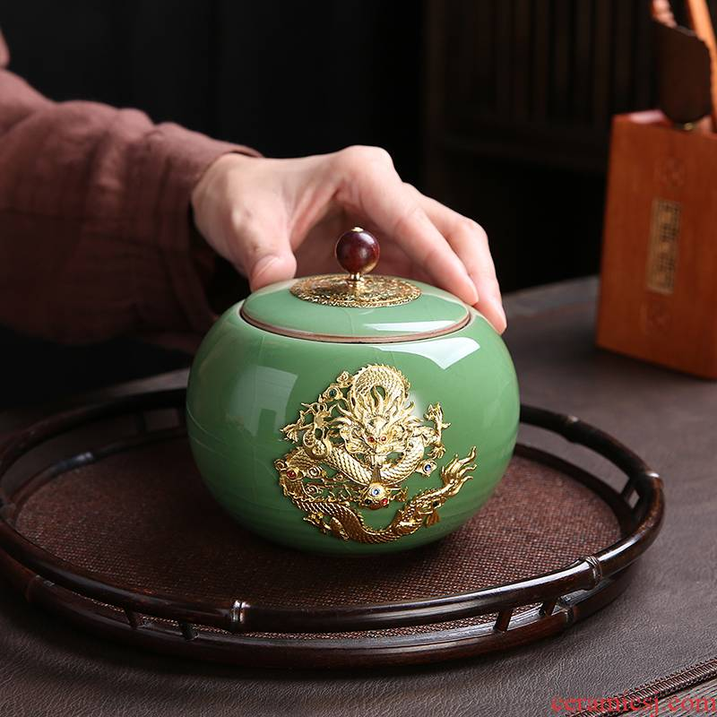 Longquan glaze open piece of silver ceramic kung fu tea caddy fixings parts storage sealed as cans of tea gift packaging