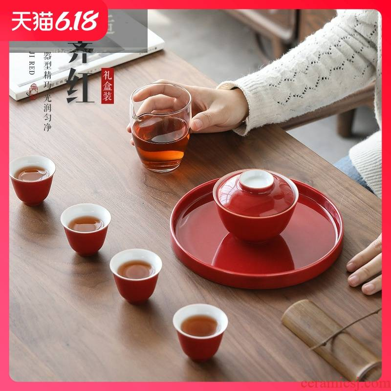Guest comfortable complete three hold to tureen kung fu tea set ji red Chinese wedding taking marriage opening celebrations