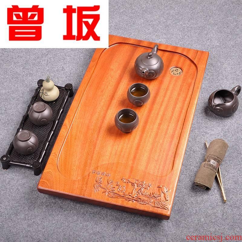 Once sitting on the whole piece of wood tea tray was large solid wood tea tray was kung fu tea set little single drainage rosewood tea tea tea