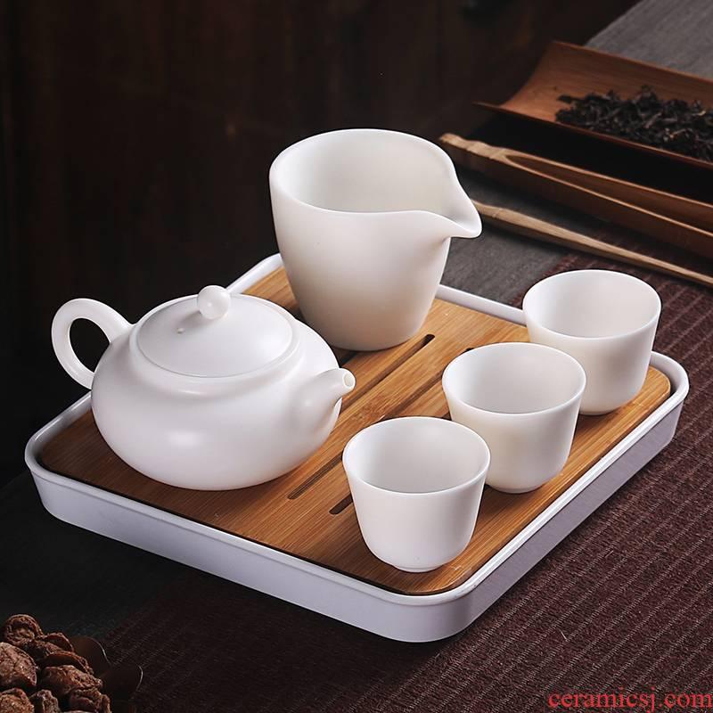 True cheng dehua suet white jade travel tea set suit portable Japanese kung fu tea set contracted tea tray tea cups