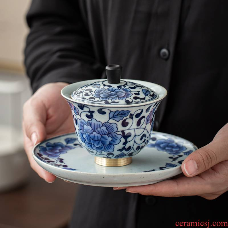 Jingdezhen blue and white porcelain tureen single is not a hot Japanese antique kunfu tea tureen high three tureen tea cups