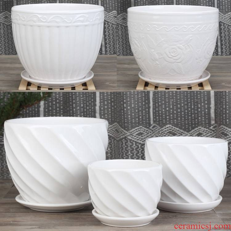 New pure white ceramic flower pot extra - large small creative interior contracted money plant flower pot chlorophytum move with tray