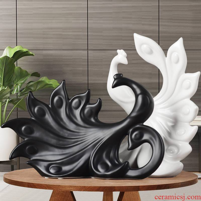 Creative decorations furnishing articles sitting room porch TV ark, large peacock wine ceramic art furnishing articles