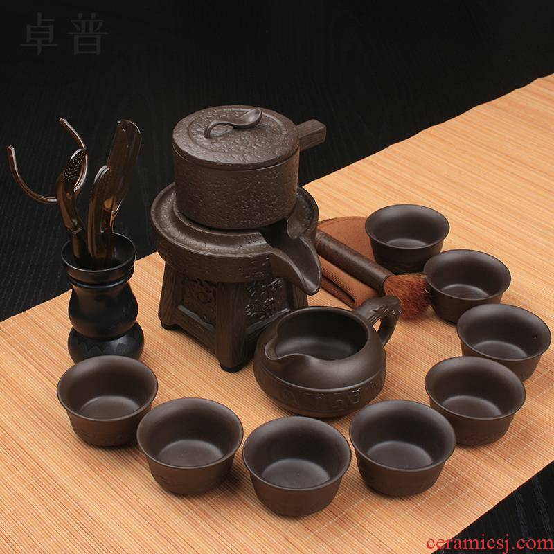 Tea with violet arenaceous semi automatic kung fu Tea set the teapot teacup lazy household making Tea with Tea ware
