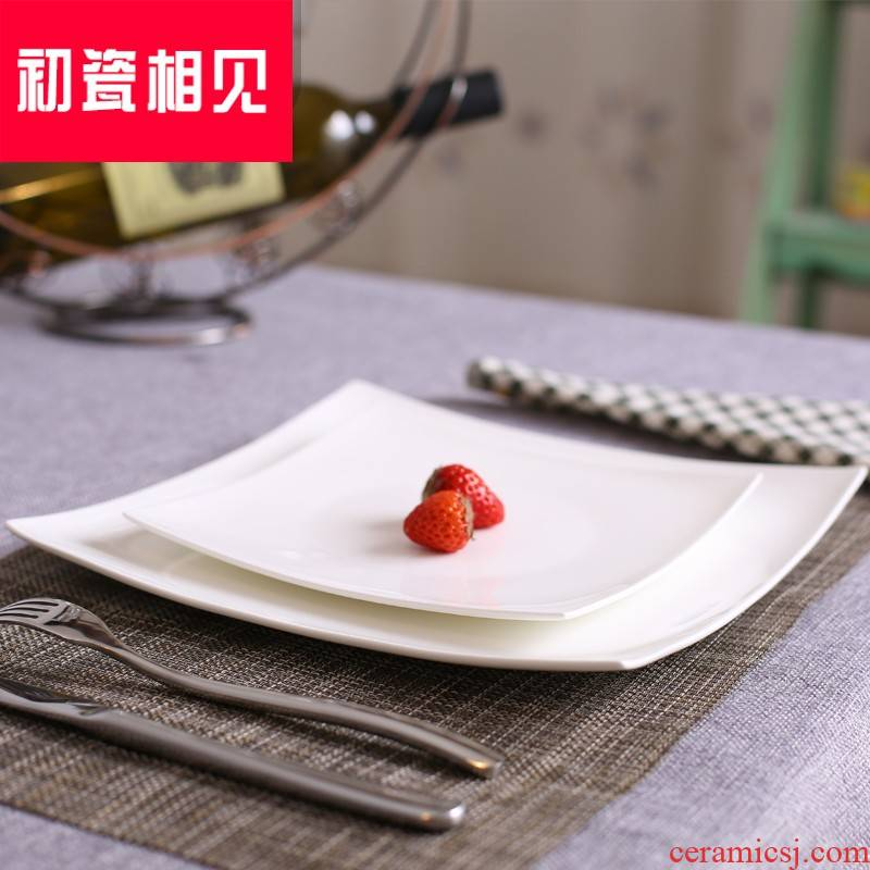 Steak porcelain meet each other at the beginning of pure white ipads porcelain dish food dish household square flat light all the cake plate cold dish plate