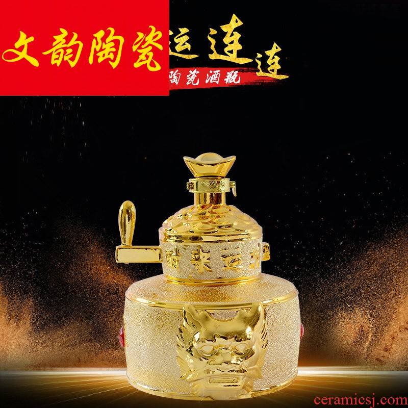 Gold - plated ceramic terms empty wine bottle 5 jins of liquor jar 5 jins of the loaded containers to collect the empty wine bottle wine bottle