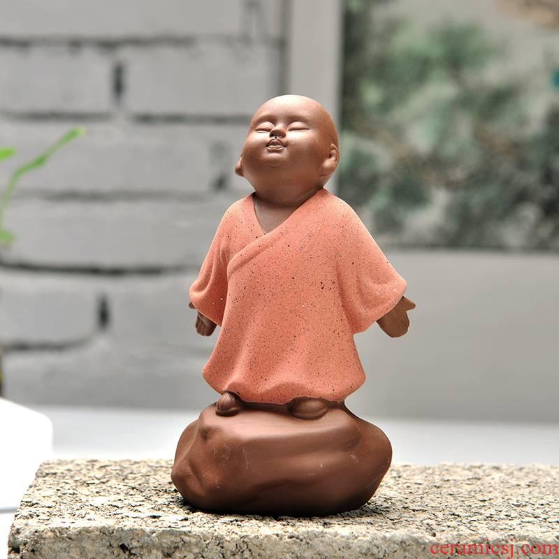 Art of colored sand clay young monk tea pet play kung fu tea tea tea tray ceramic creative home furnishing articles car