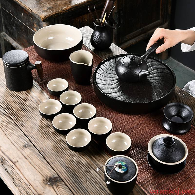 Art of kung fu tea set suit, black pottery teapot side of a complete set of belt filter household GaiWanCha big cups of tea to wash dish