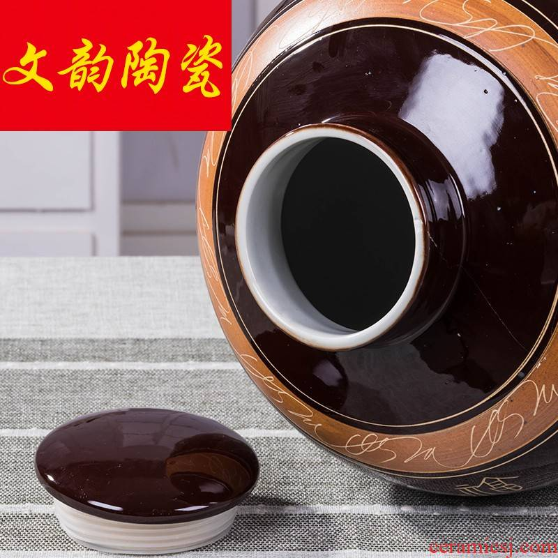 Jingdezhen ceramic jars with cover sealing water mercifully wine jars hip flask household hotel with how it