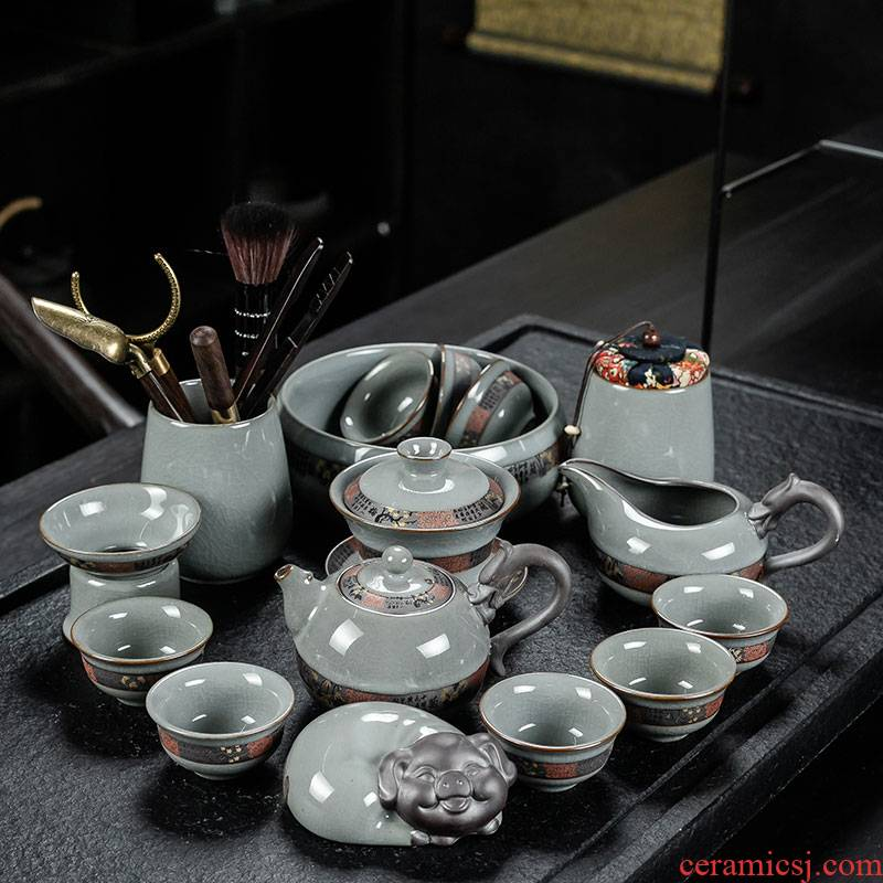 Elder brother up with crack kung fu tea set suit household of Chinese style is contracted to open the slice your up glaze ceramic tea cup lid bowl