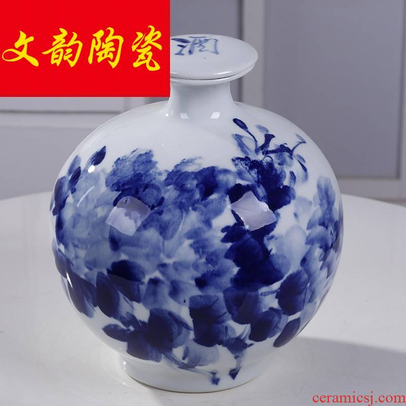 Under the blue and white glaze of jingdezhen ceramic jar 5/10 jins home wine liquor jar of wine bottle seal