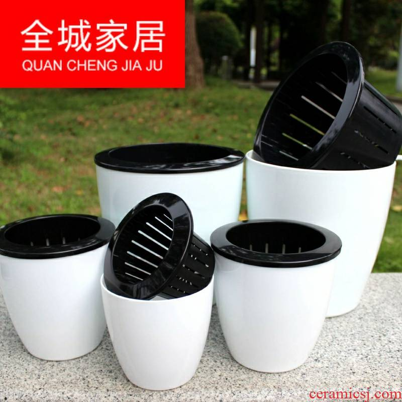 Automatic suction lazy basin of water ridging from other flowerpot more meat water imitation ceramic flower pot from plastic flower POTS