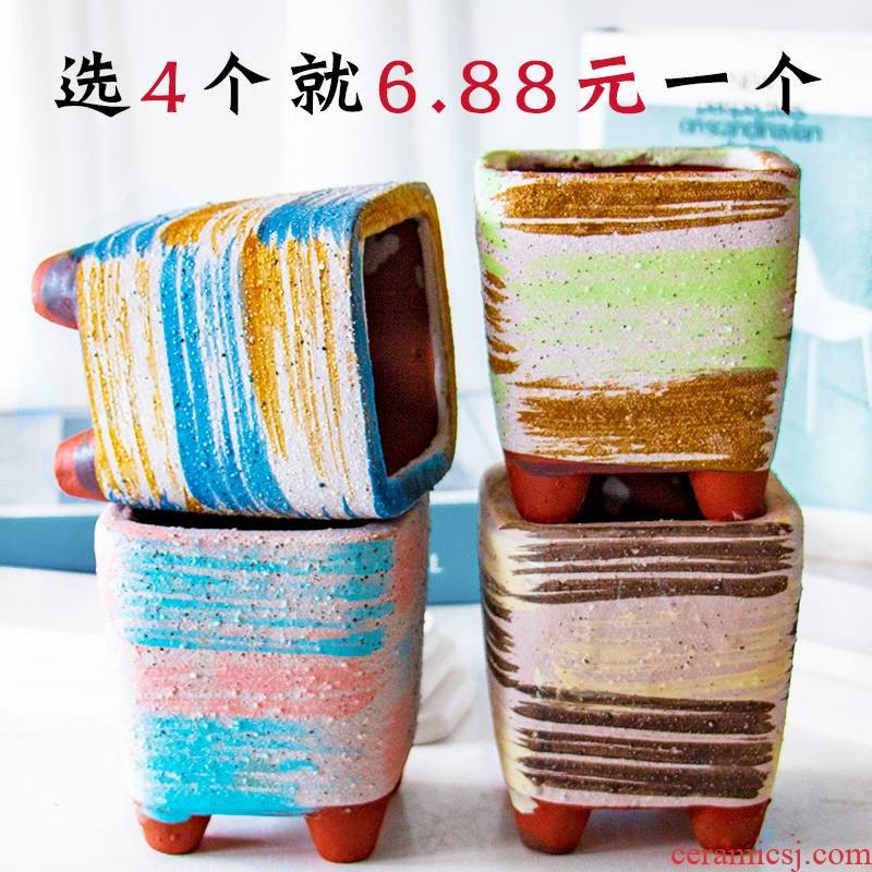 Meaty plant pot ceramic flower POTS, fleshy contracted move high flower POTS made purple wizard gop running the side basin